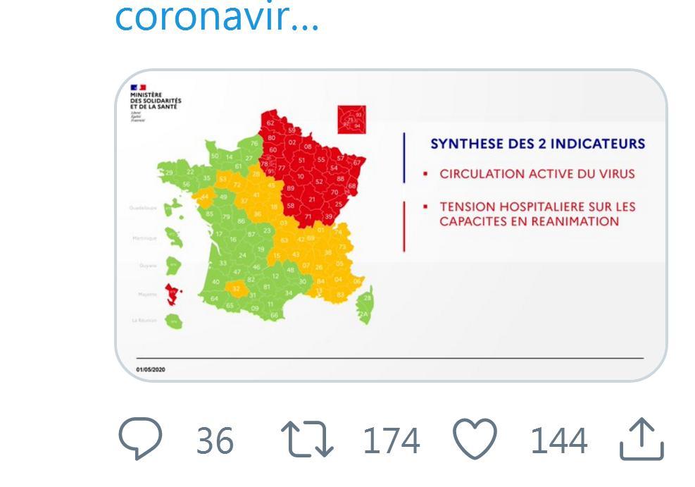 Coronavirus. la Haute Garonne en vert, le Gers en orange