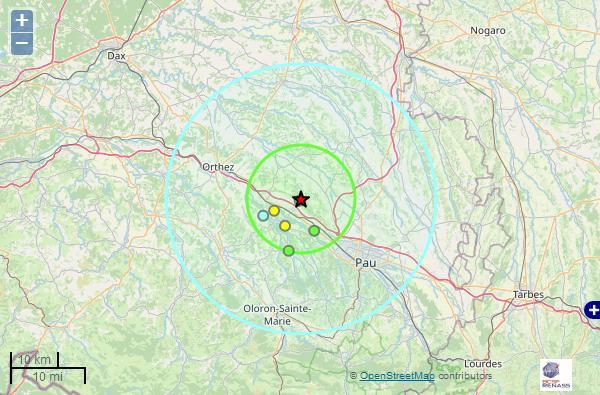 Nouveau tremblement de terre entre Pau et Orthez