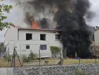Labrugière Tarn Région un violent incendie détruit une maison
