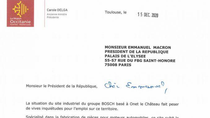 Bosch Rodez Carole Delga interpelle le président de la République