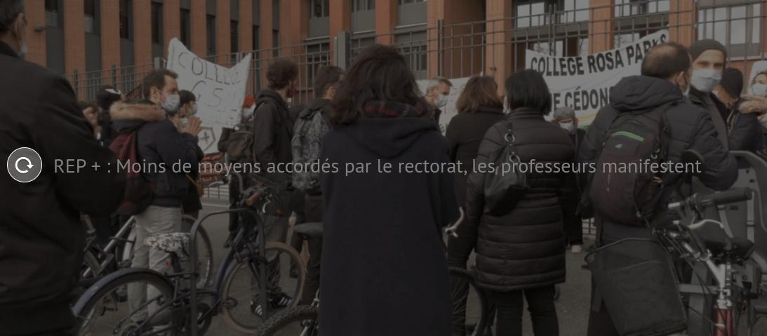 En colère, les enseignants des Lycées REP ont manifesté devant le rectorat de Toulouse
