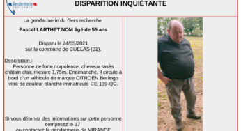 Disparition inquiétante d'un homme de 55 ans dans le Gers